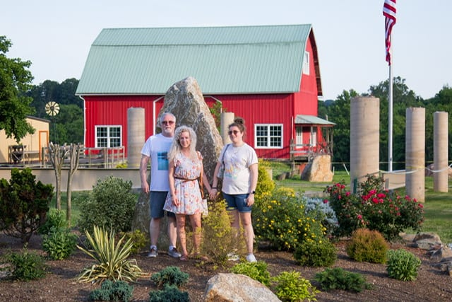 landscaping in front of barn